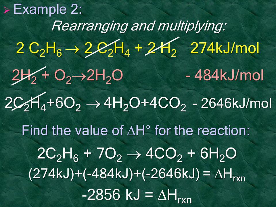 2 C2H6  2 C2H4 + 2 H2 274kJ/mol 2H2 + O22H2O - 484kJ/mol