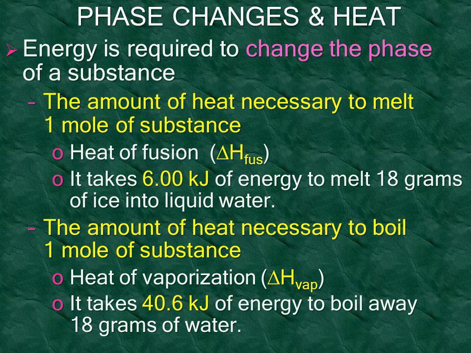 PHASE CHANGES & HEAT Energy is required to change the phase of a substance. The amount of heat necessary to melt 1 mole of substance.