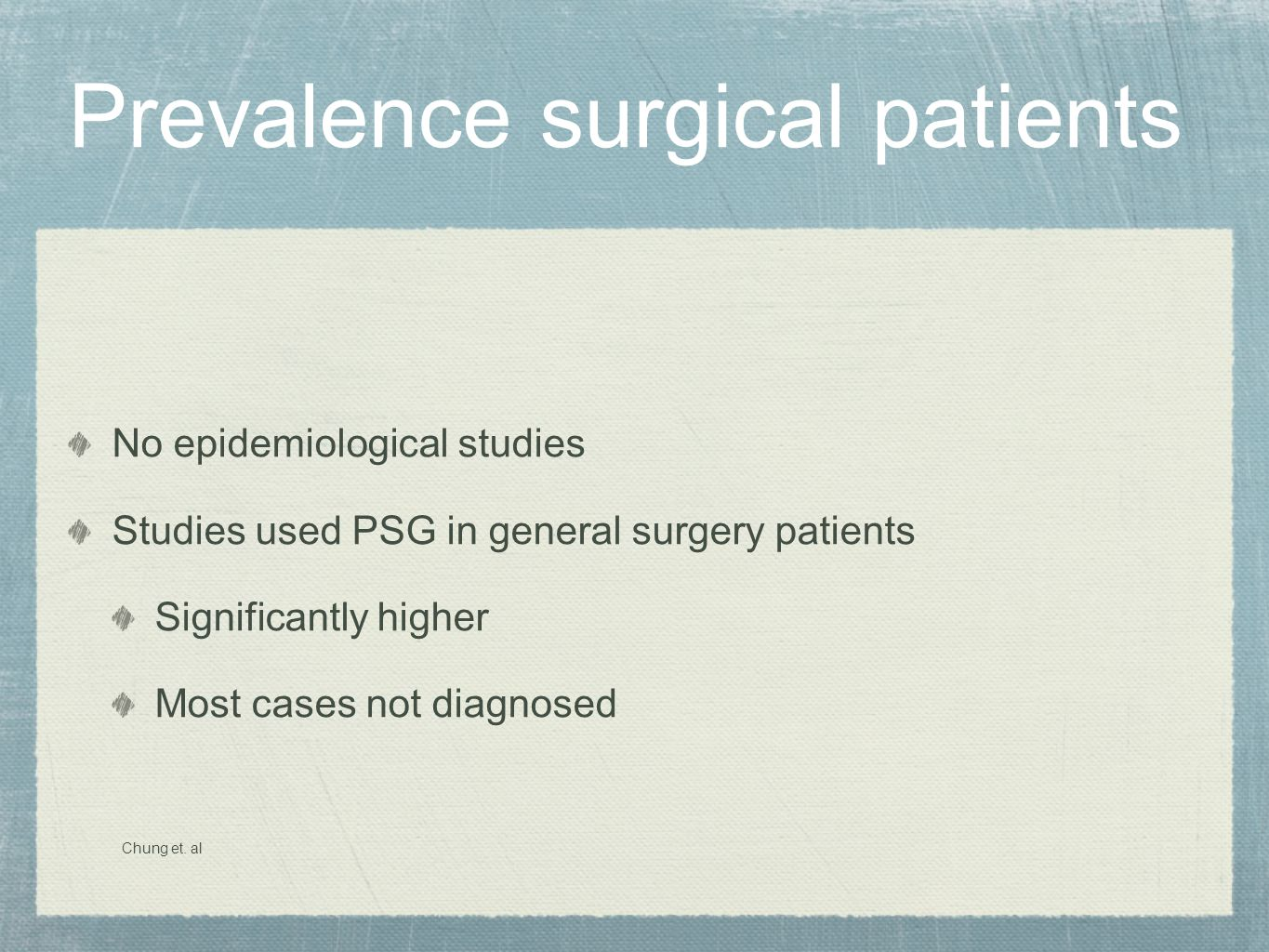 Prevalence surgical patients