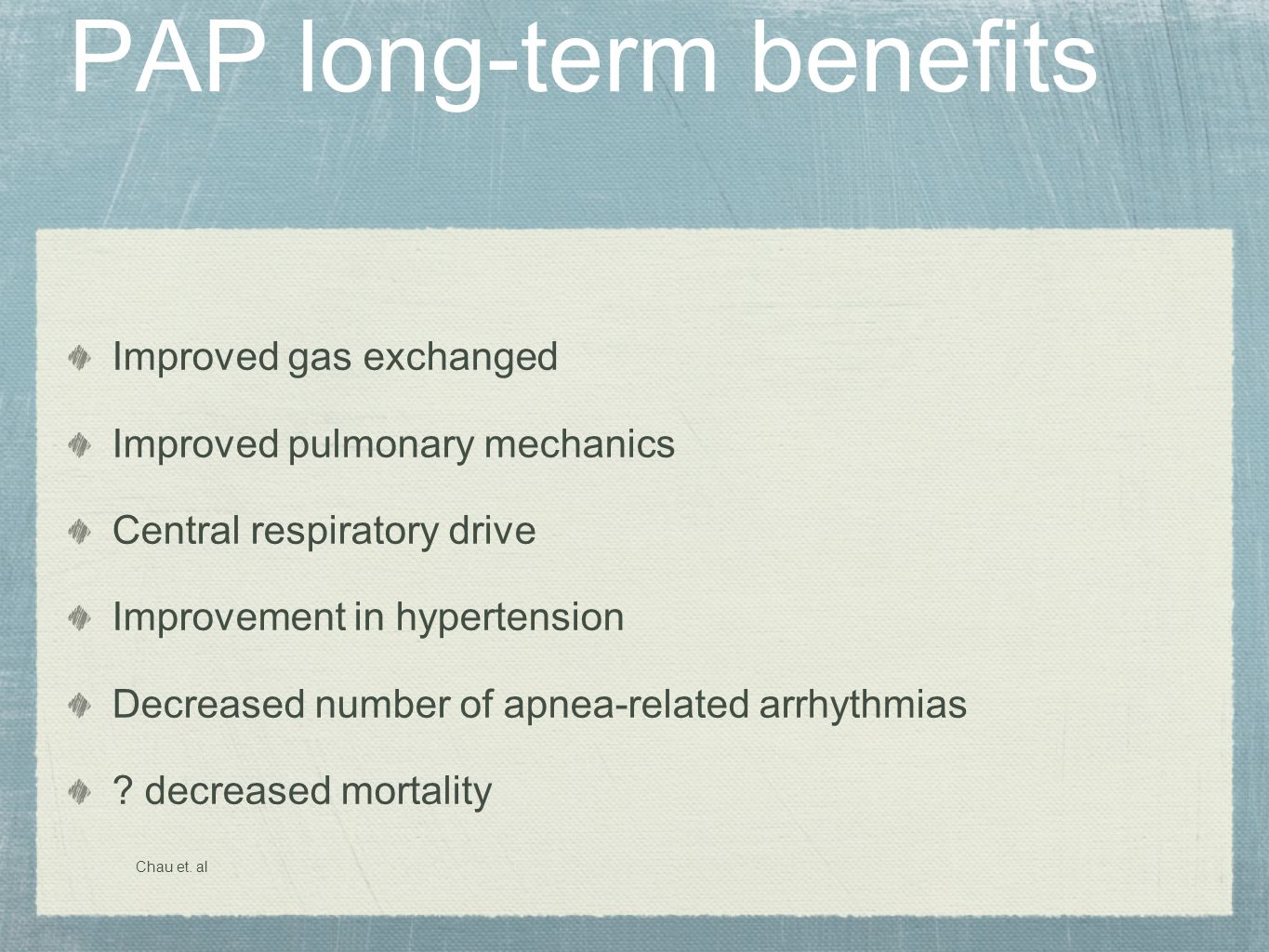 PAP long-term benefits