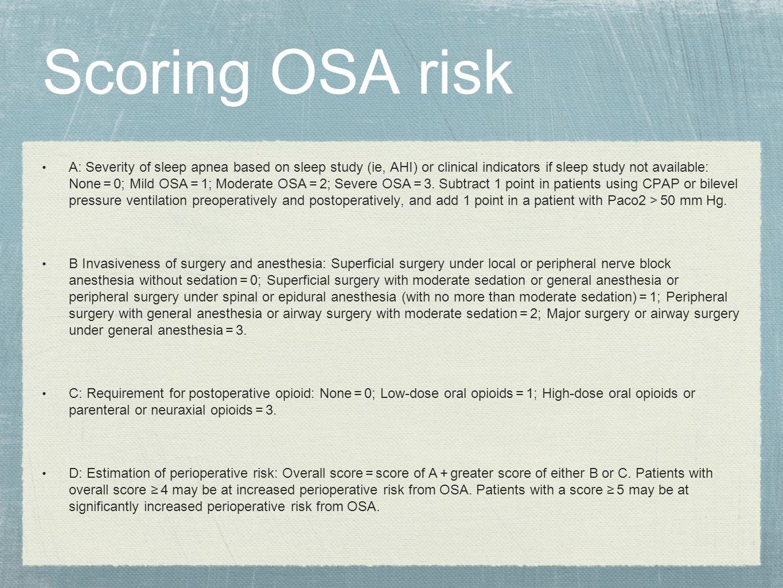 Scoring OSA risk