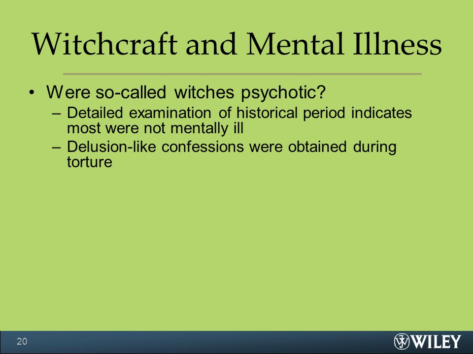 Witchcraft and Mental Illness