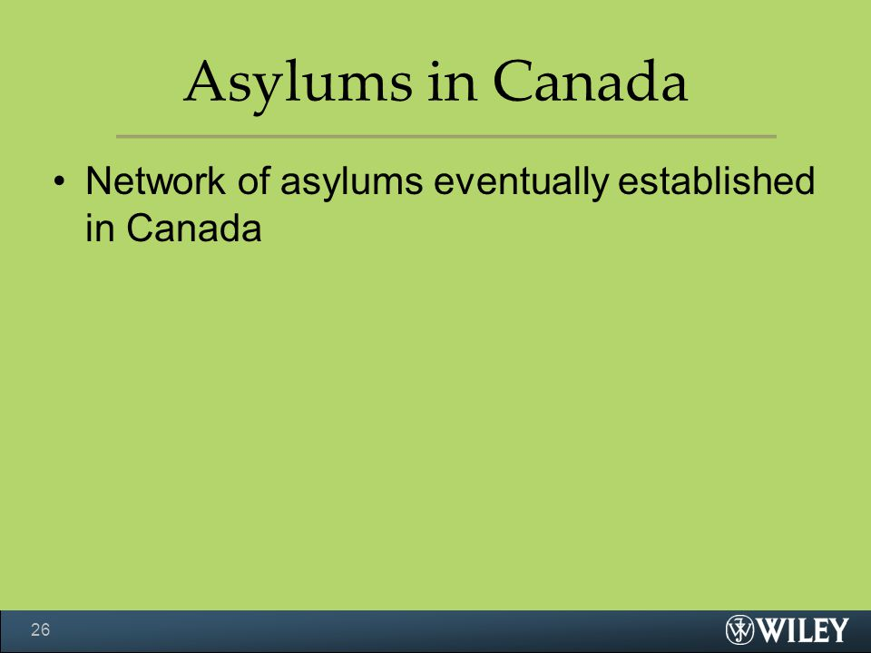 Asylums in Canada Network of asylums eventually established in Canada