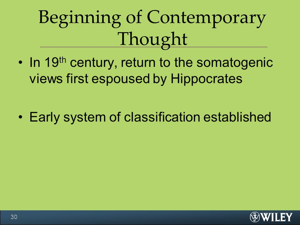 Beginning of Contemporary Thought
