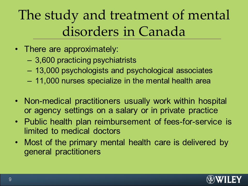 The study and treatment of mental disorders in Canada