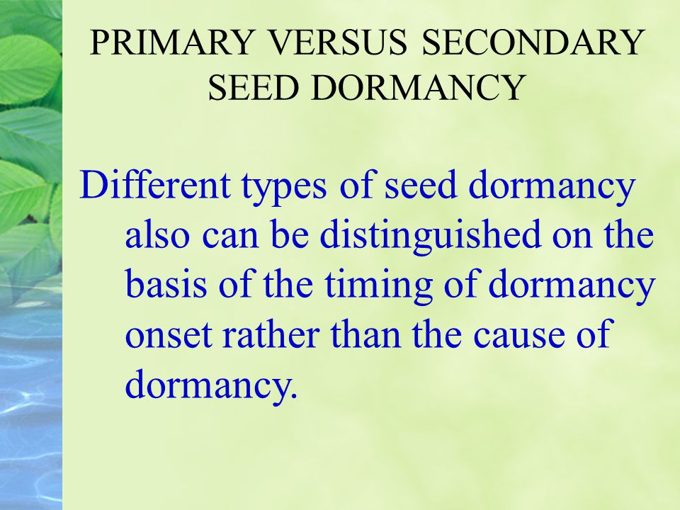 PRIMARY VERSUS SECONDARY SEED DORMANCY