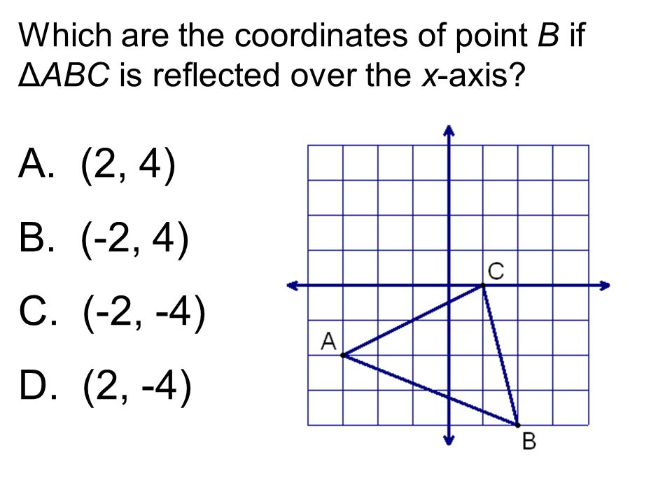 Which are the coordinates of point B if ΔABC is reflected over the x-axis