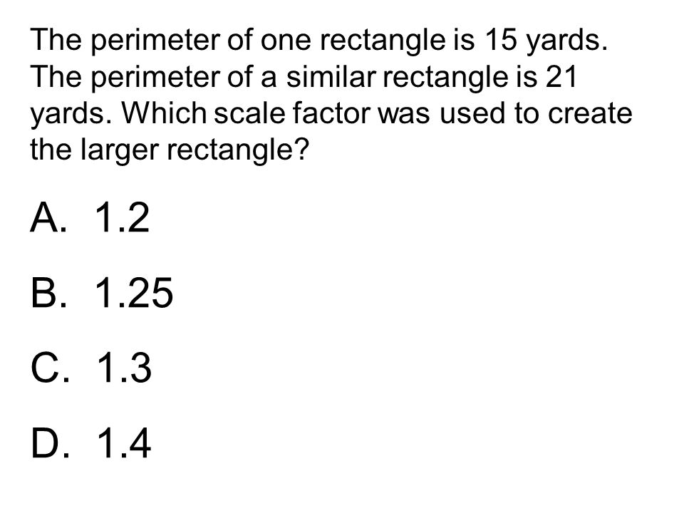 The perimeter of one rectangle is 15 yards