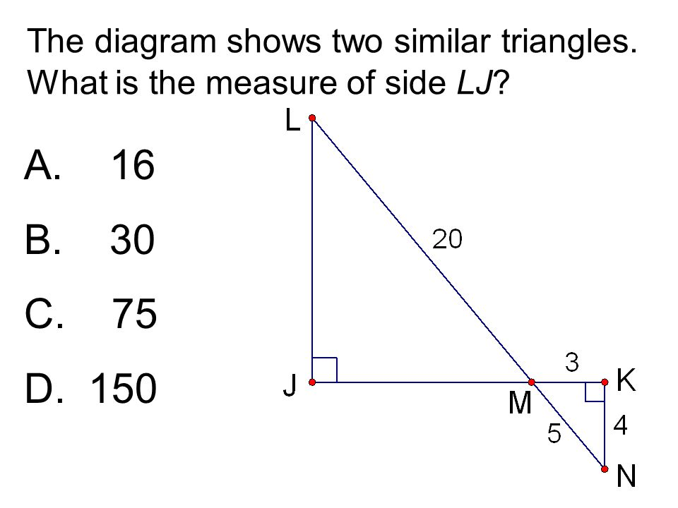 The diagram shows two similar triangles. What is the measure of side LJ