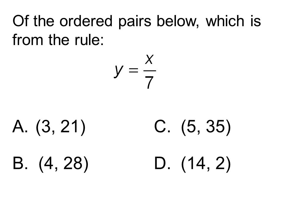 Of the ordered pairs below, which is from the rule: