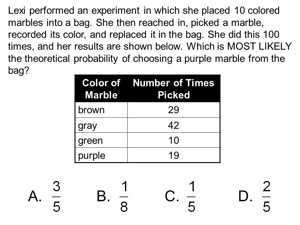 Lexi performed an experiment in which she placed 10 colored marbles into a bag. She then reached in, picked a marble, recorded its color, and replaced it in the bag. She did this 100 times, and her results are shown below. Which is MOST LIKELY the theoretical probability of choosing a purple marble from the bag