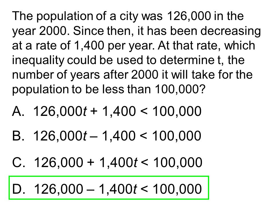 The population of a city was 126,000 in the year 2000