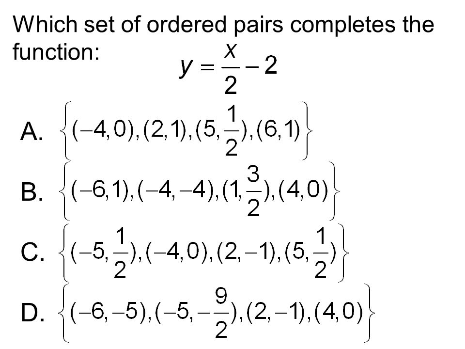 Which set of ordered pairs completes the function: