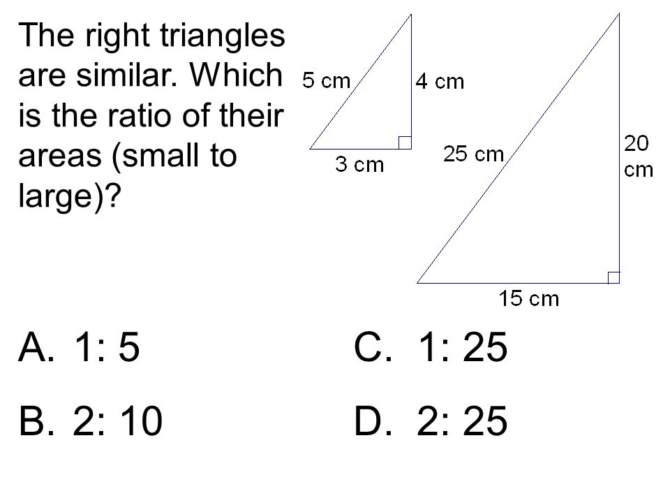 The right triangles are similar