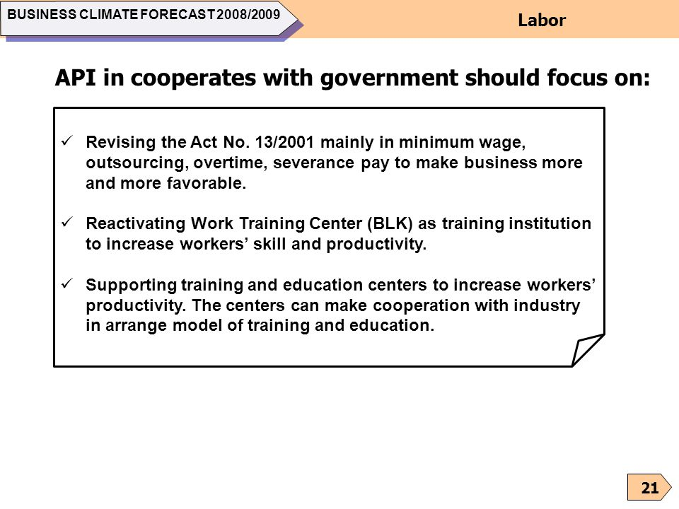 API in cooperates with government should focus on:
