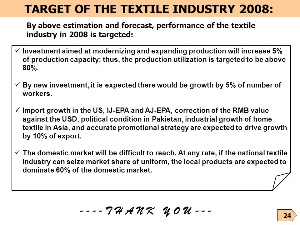 TARGET OF THE TEXTILE INDUSTRY 2008: