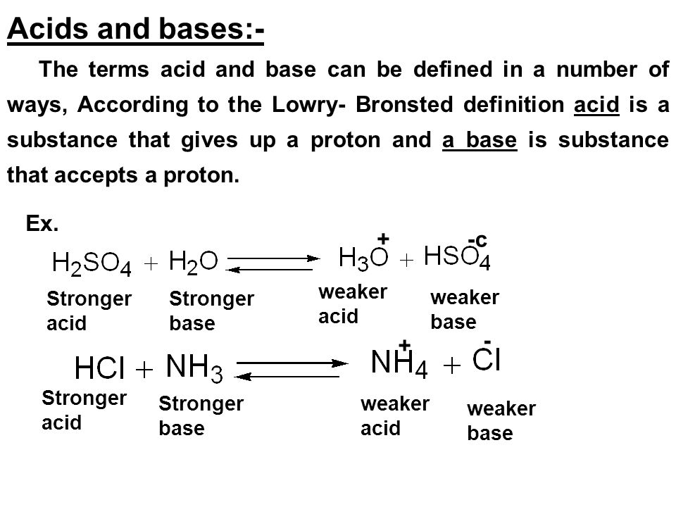 Acids and bases:-