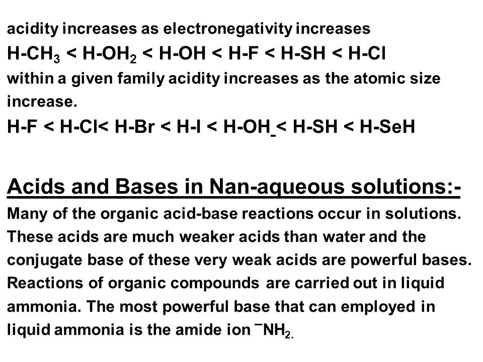 Acids and Bases in Nan-aqueous solutions:-