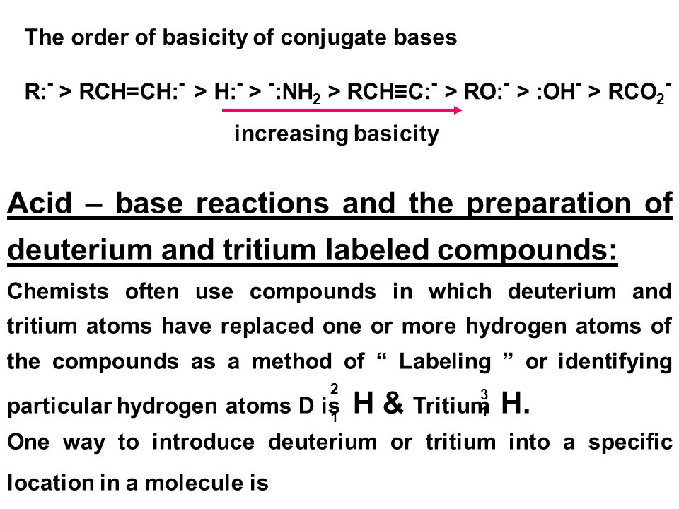The order of basicity of conjugate bases