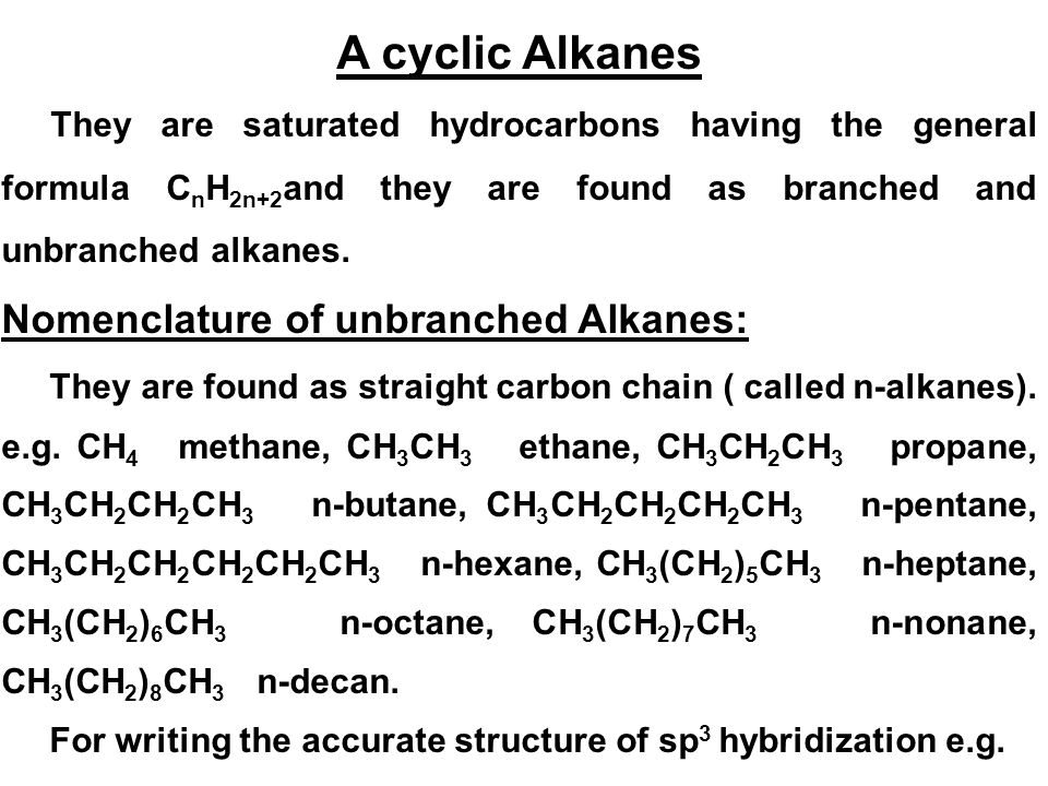 A cyclic Alkanes Nomenclature of unbranched Alkanes: