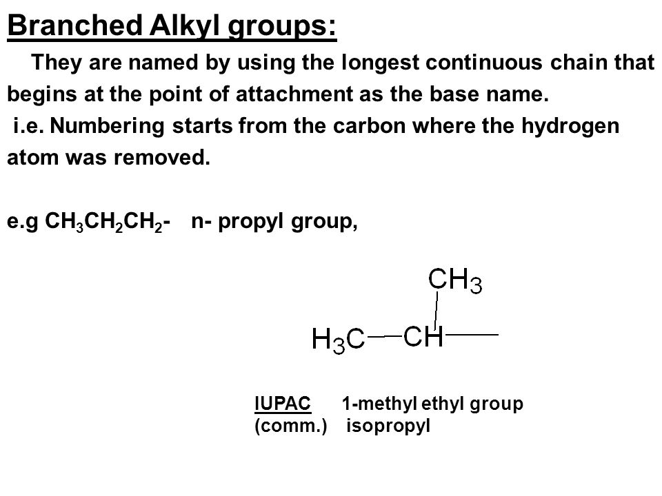 Branched Alkyl groups: