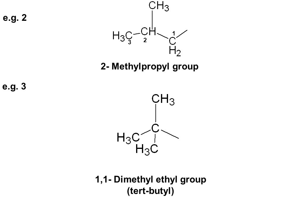 e.g. 2 2- Methylpropyl group e.g. 3 1,1- Dimethyl ethyl group