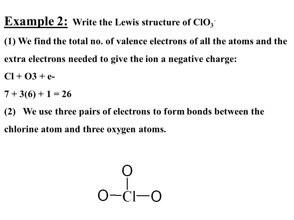 Example 2: Write the Lewis structure of ClO3-