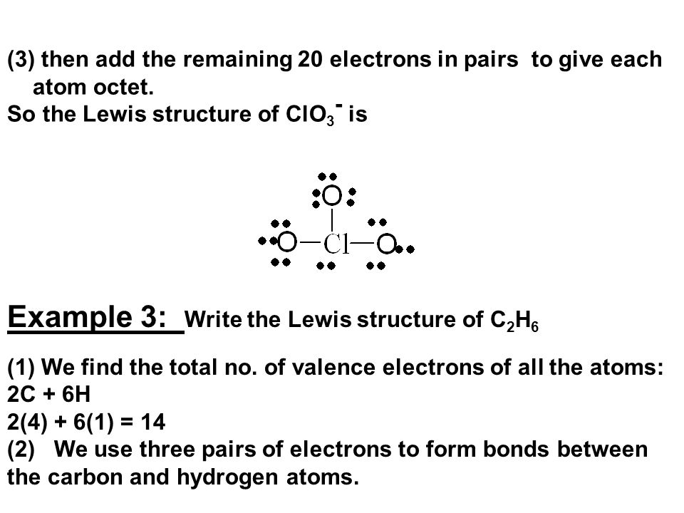 Example 3: Write the Lewis structure of C2H6