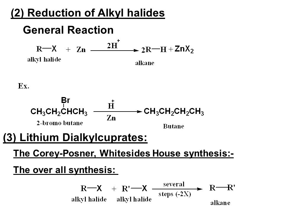 (2) Reduction of Alkyl halides General Reaction