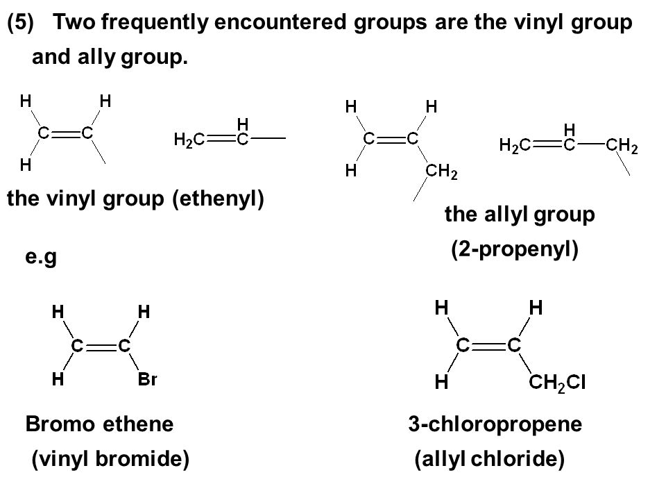 (5) Two frequently encountered groups are the vinyl group and ally group.
