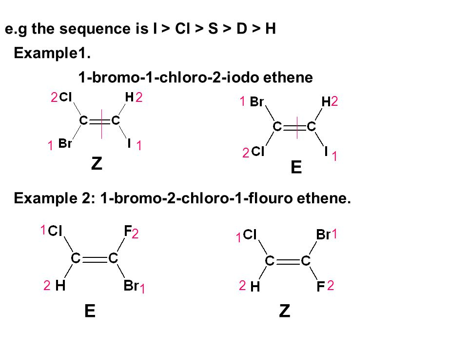Z E E Z e.g the sequence is I > Cl > S > D > H Example1.