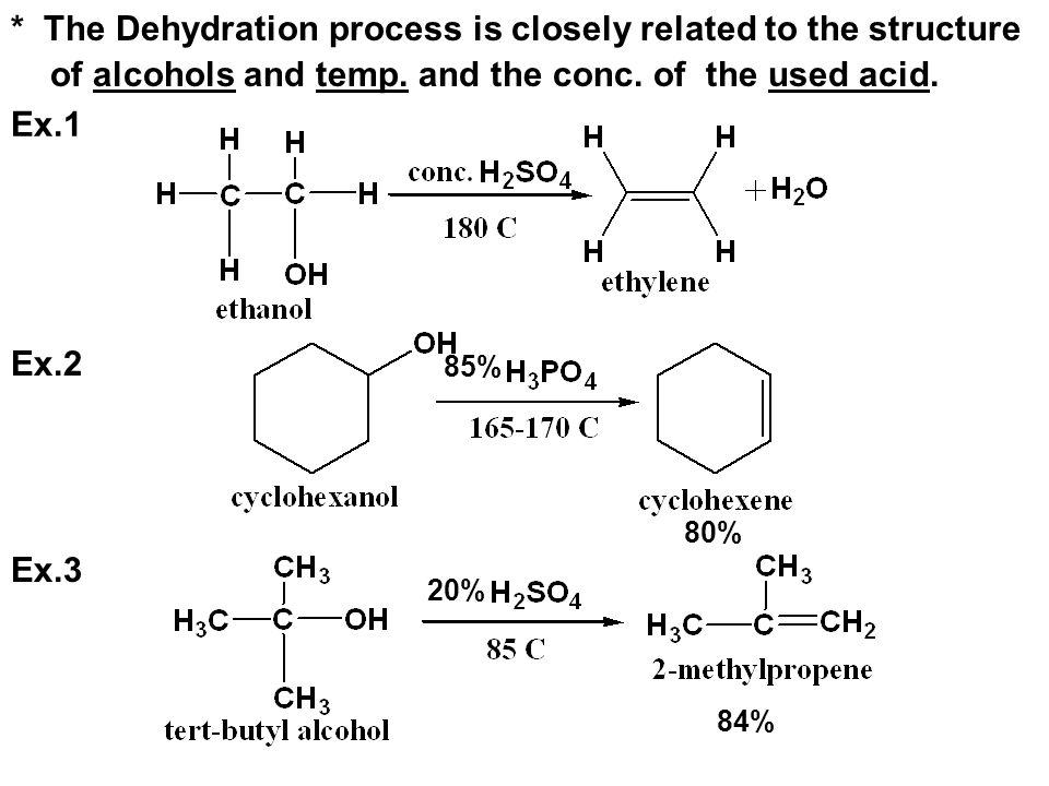 * The Dehydration process is closely related to the structure of alcohols and temp. and the conc. of the used acid.