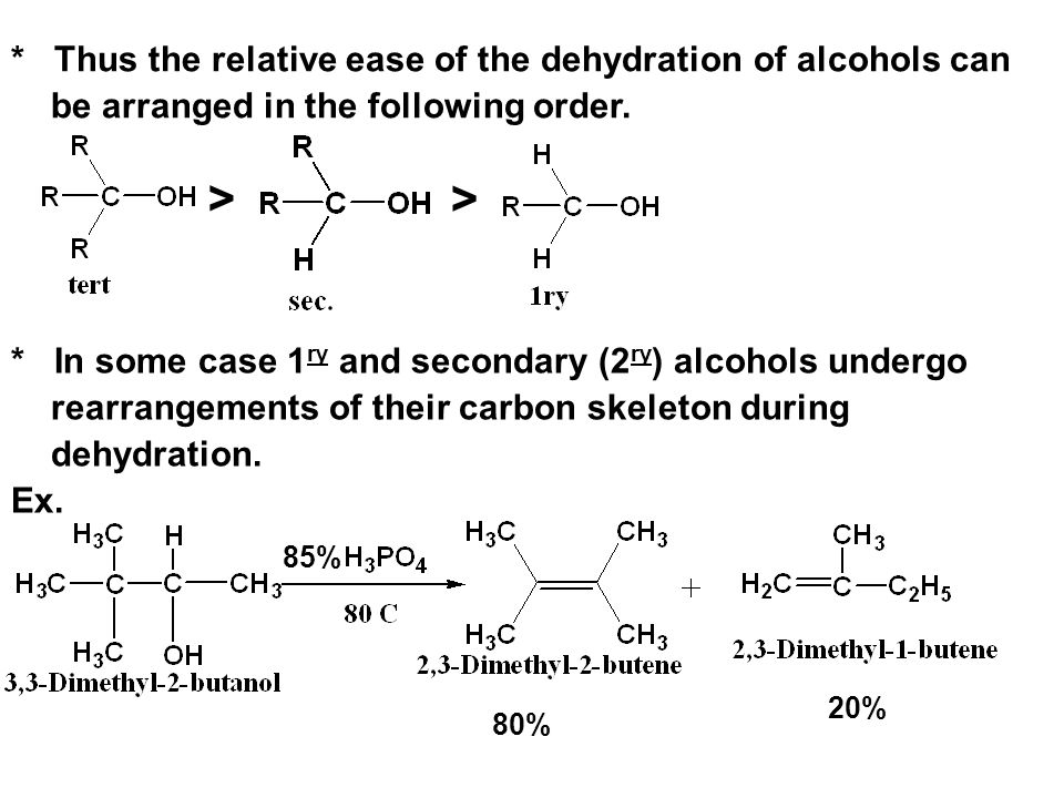 * Thus the relative ease of the dehydration of alcohols can be arranged in the following order.