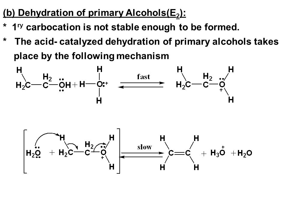 (b) Dehydration of primary Alcohols(E2):