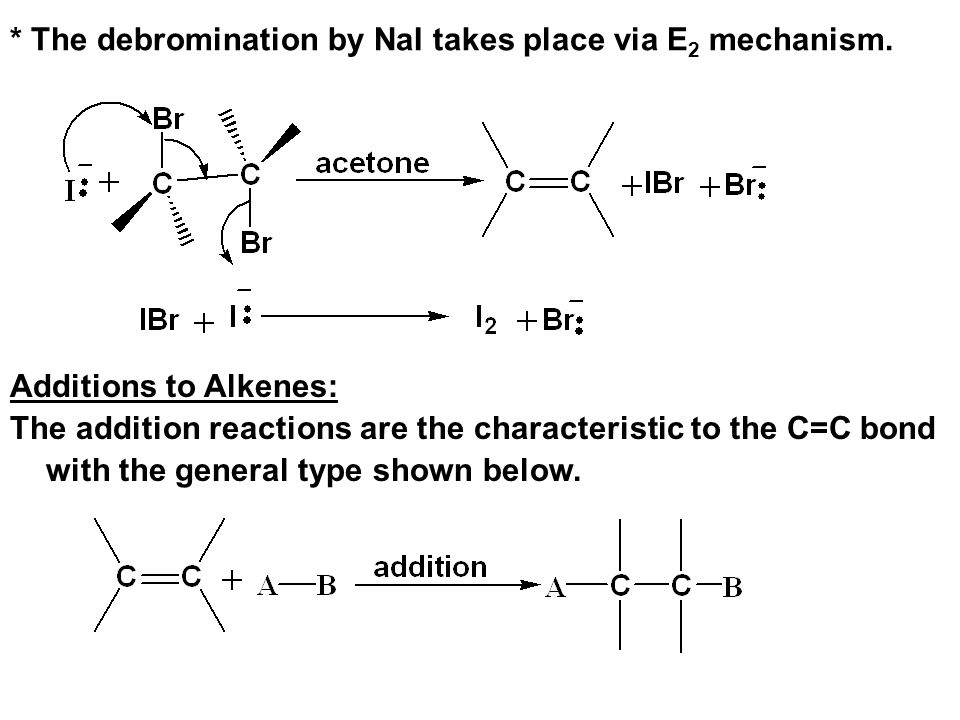 * The debromination by NaI takes place via E2 mechanism.