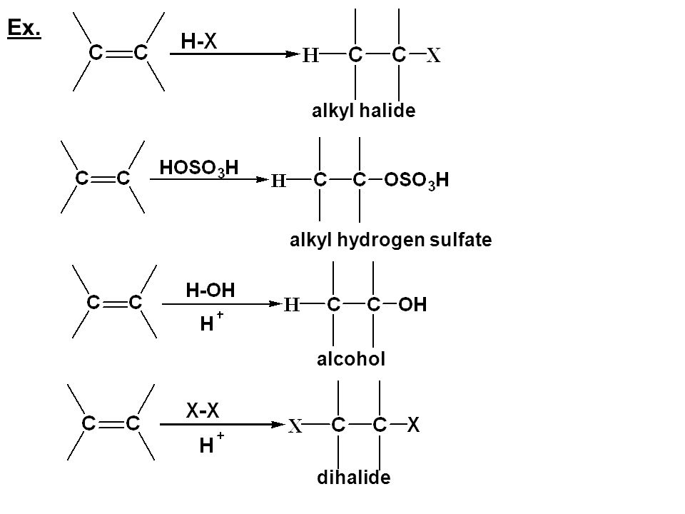 Ex. alkyl halide alkyl hydrogen sulfate alcohol dihalide