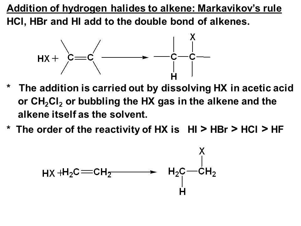 Addition of hydrogen halides to alkene: Markavikov's rule