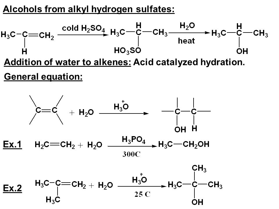 Alcohols from alkyl hydrogen sulfates: