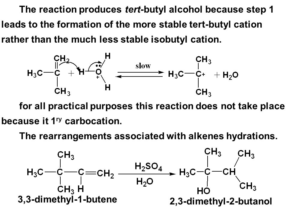 The reaction produces tert-butyl alcohol because step 1 leads to the formation of the more stable tert-butyl cation rather than the much less stable isobutyl cation.