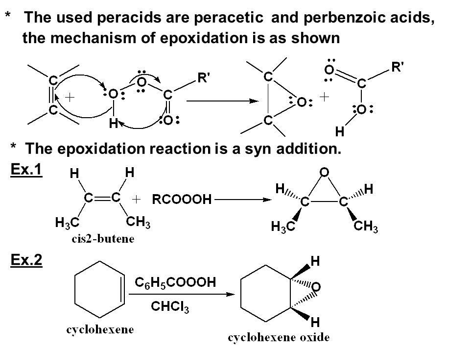 * The used peracids are peracetic and perbenzoic acids, the mechanism of epoxidation is as shown