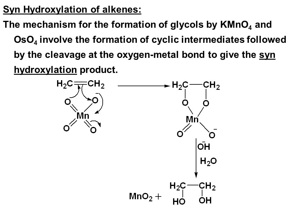 Syn Hydroxylation of alkenes: