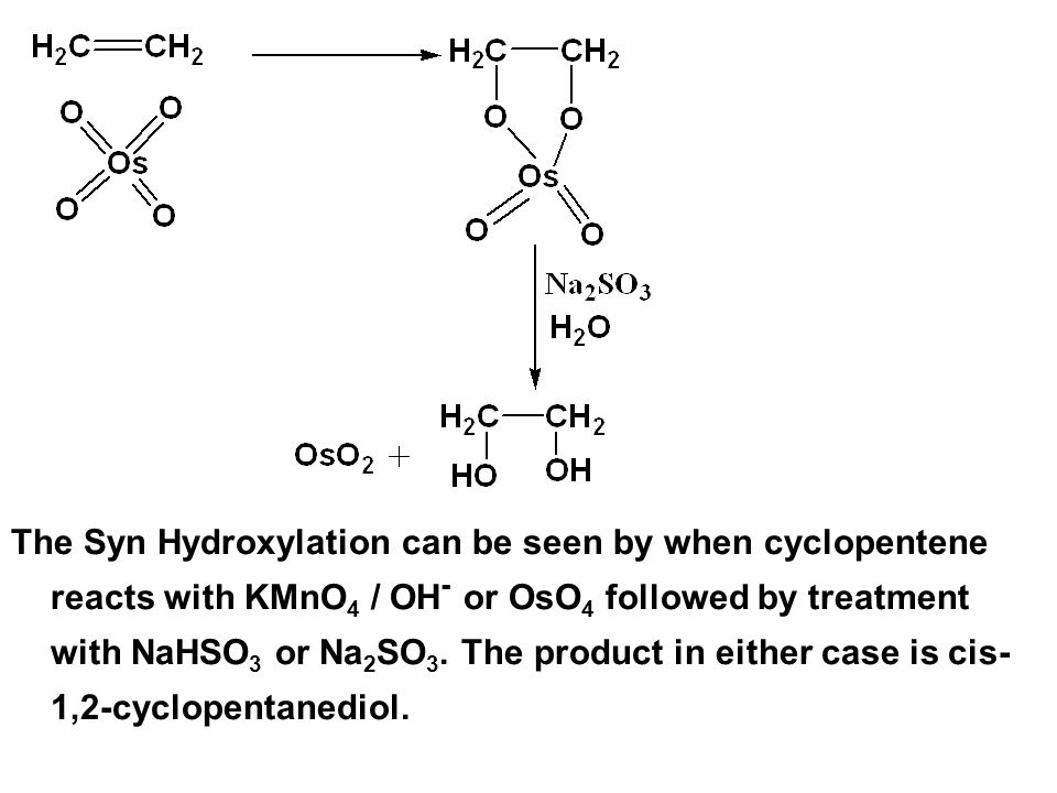 The Syn Hydroxylation can be seen by when cyclopentene reacts with KMnO4 / OH- or OsO4 followed by treatment with NaHSO3 or Na2SO3.