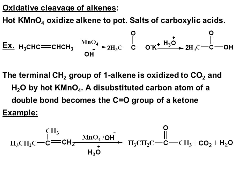 Oxidative cleavage of alkenes: