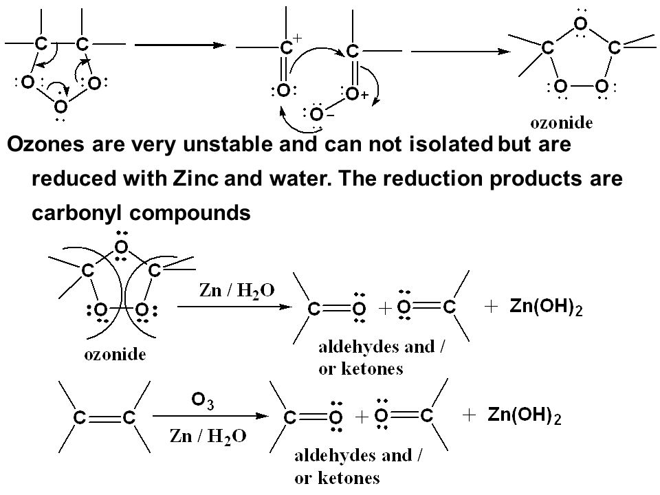 Ozones are very unstable and can not isolated but are reduced with Zinc and water.