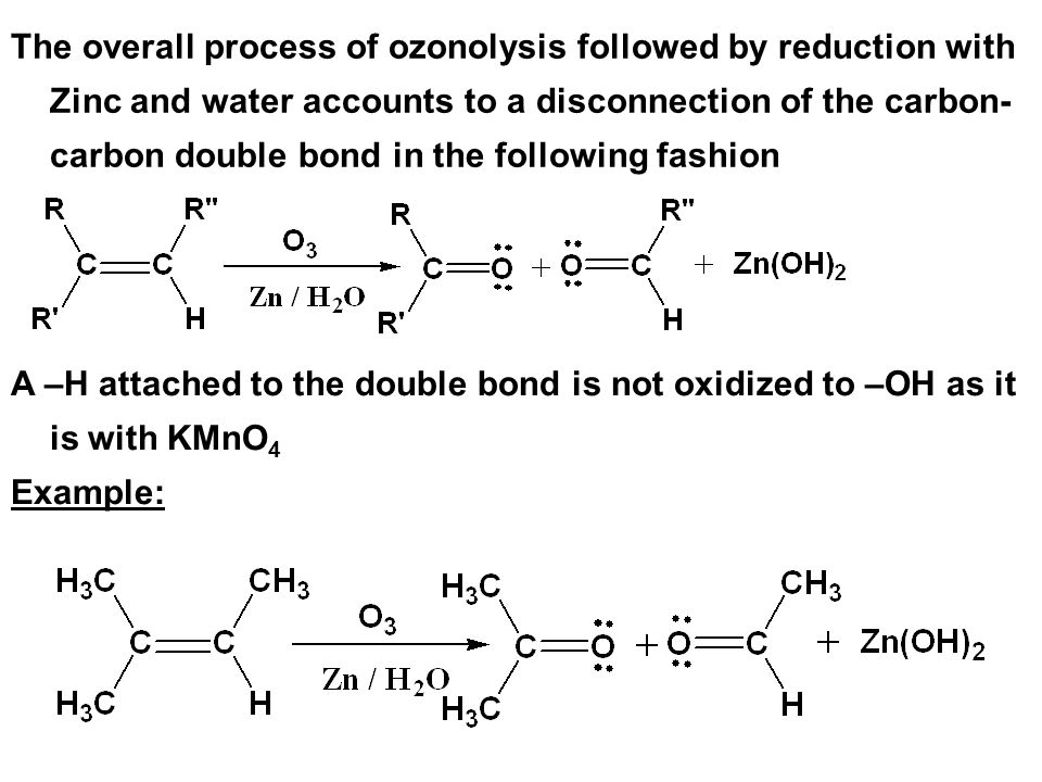 The overall process of ozonolysis followed by reduction with Zinc and water accounts to a disconnection of the carbon-carbon double bond in the following fashion
