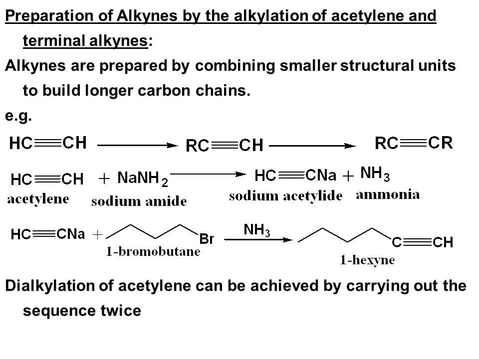 Preparation of Alkynes by the alkylation of acetylene and terminal alkynes: