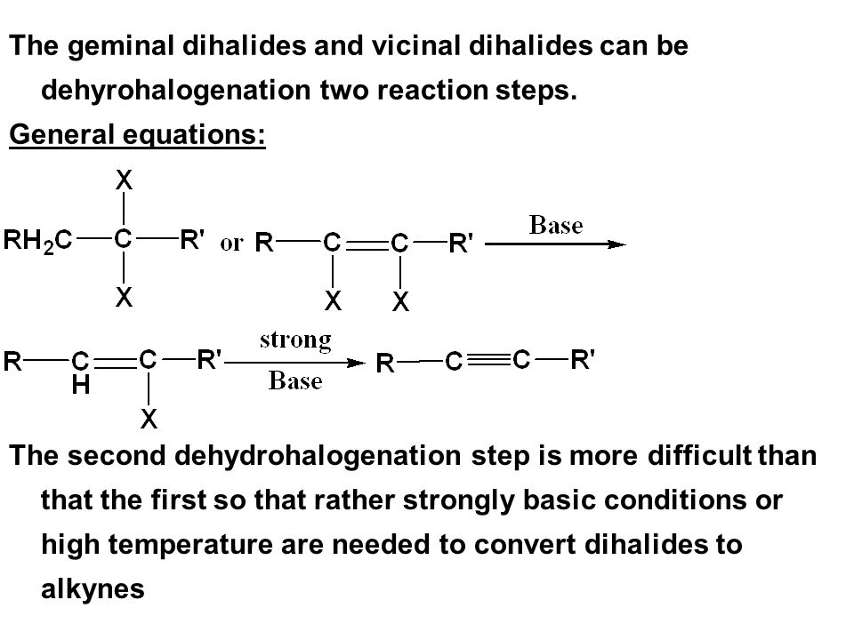 The geminal dihalides and vicinal dihalides can be dehyrohalogenation two reaction steps.
