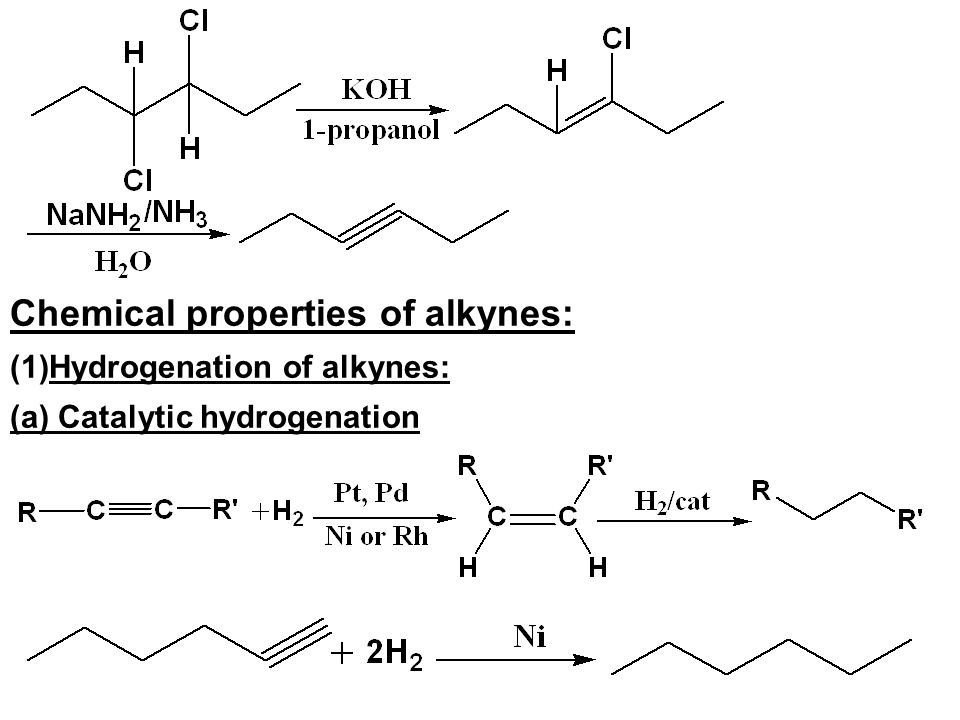 Chemical properties of alkynes: