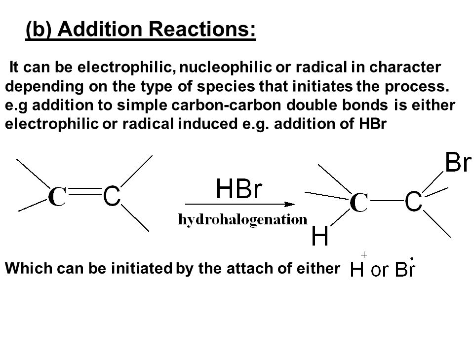 (b) Addition Reactions: