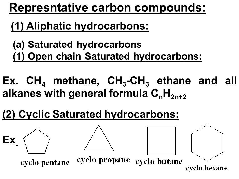 Represntative carbon compounds: